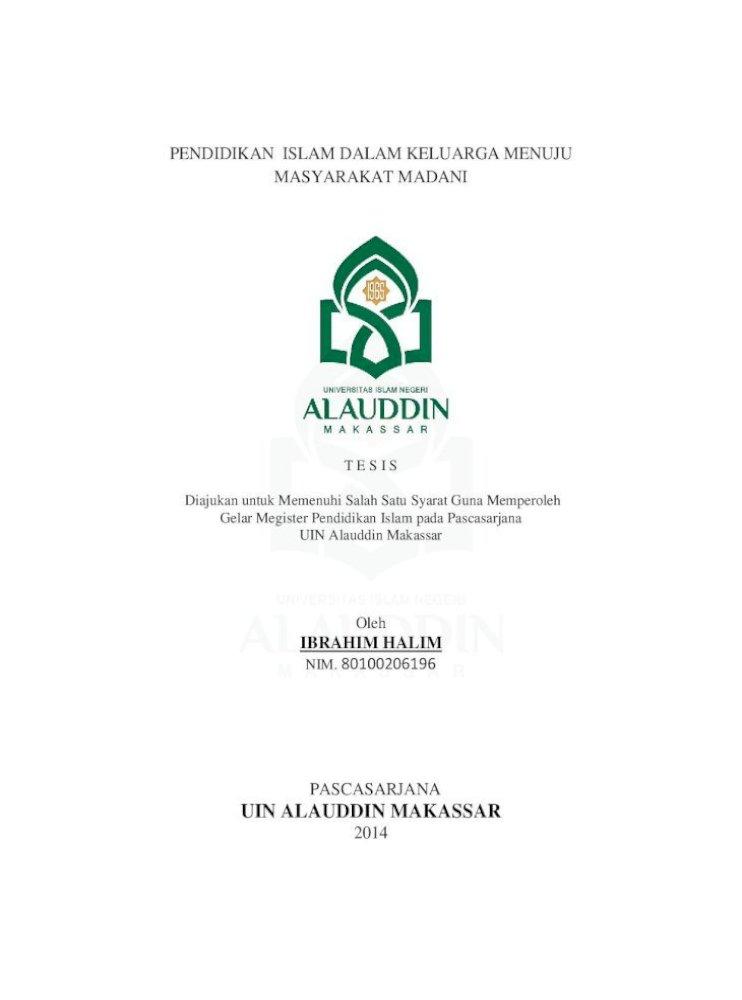 Uin Alauddin Halim Pdfآ 2017 06 07آ Pendidikan Islam Dalam Keluarga Menuju Masyarakat Madani T E S Pdf Document