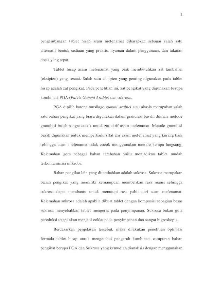 Pendahuluan A Latar 4 2 Tujuan Khusus A Mendapatkan Formula Optimum Dengan Campuran Pga Dan Sukrosa Pdf Document