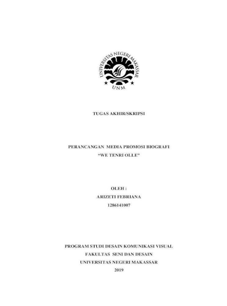 Tugas Akhir Skripsi Perancangan Media Promosi Biografi We Tenri Ollea Merupakan Karya Asli Seluruh Pdf Document