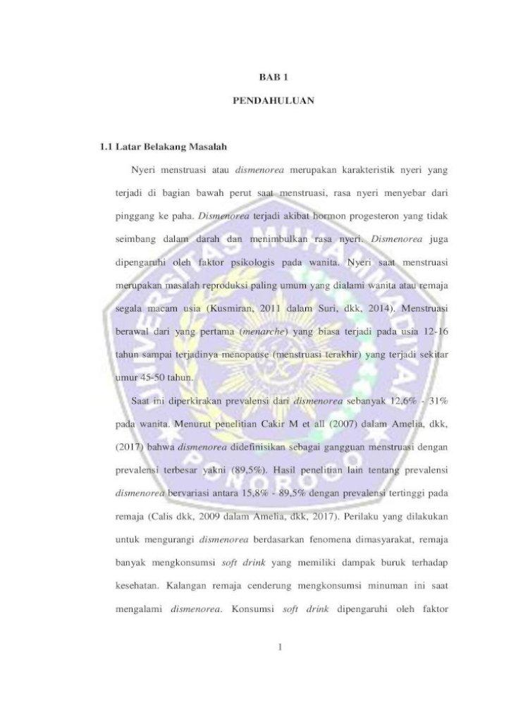 Bab 1 Pendahuluan 1 1 Latar Belakang 1 Pdf Dismenorea Primer Merupakan Nyeri Haid Yang Disebabkan Pdf Document
