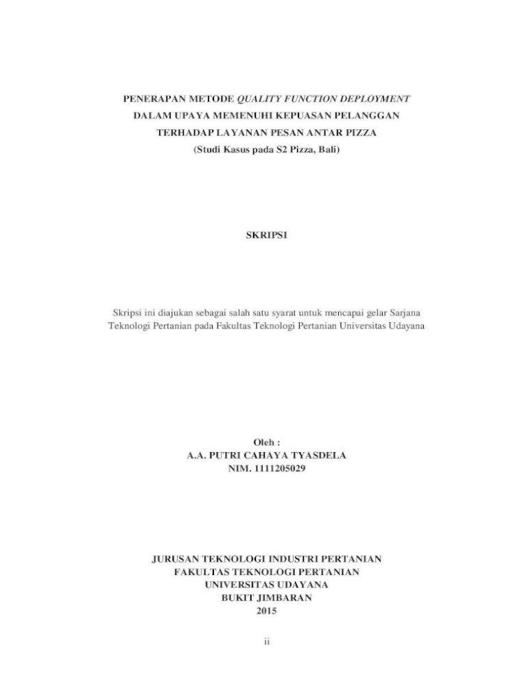 Dalam Upaya Memenuhi Kepuasan Pelanggan Terhadap Awal Pdfii Penerapan Metode Quality Function Deployment Pdf Document
