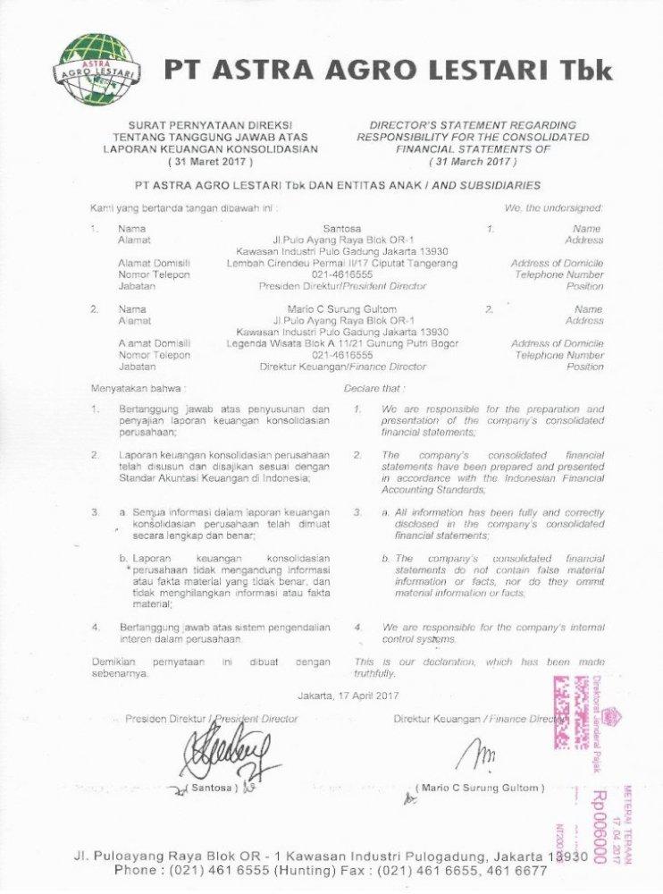Pt Astra Agro Lestari Tbk Dan Entitas Anak And Penggabungan Usaha Ini Dicatat Dengan Metode Penyatuan Pdf Document