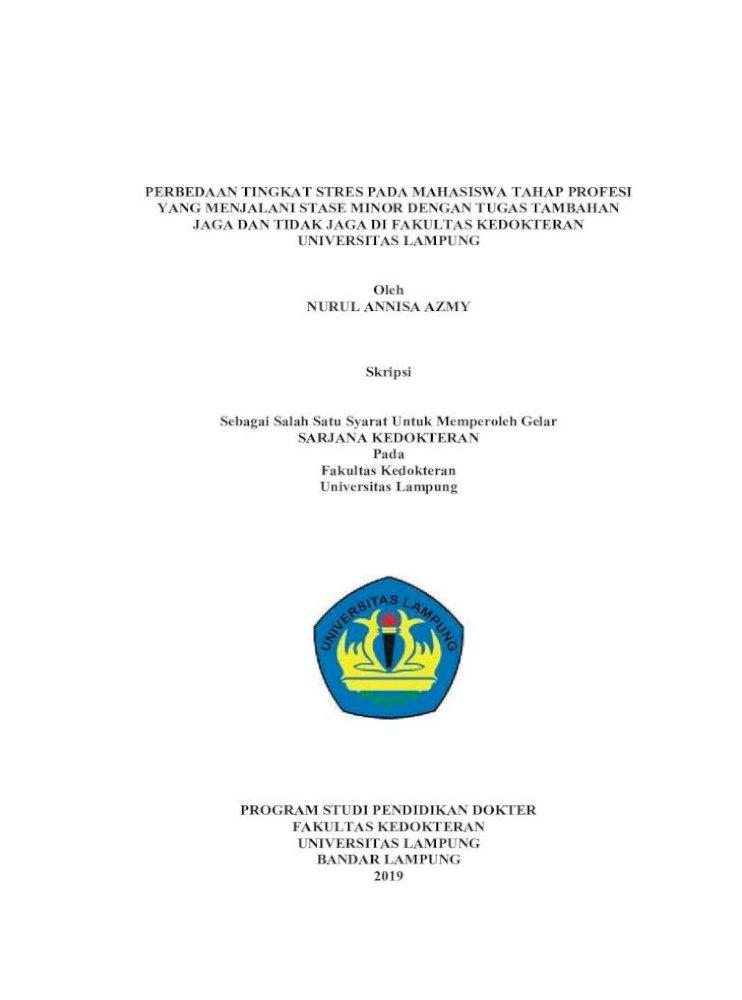 Perbedaan Tingkat Stres Pada Mahasiswa Tahap Tanpa آ Mahasiswa Tahap Profesi Yang Menjalani Pdf Document