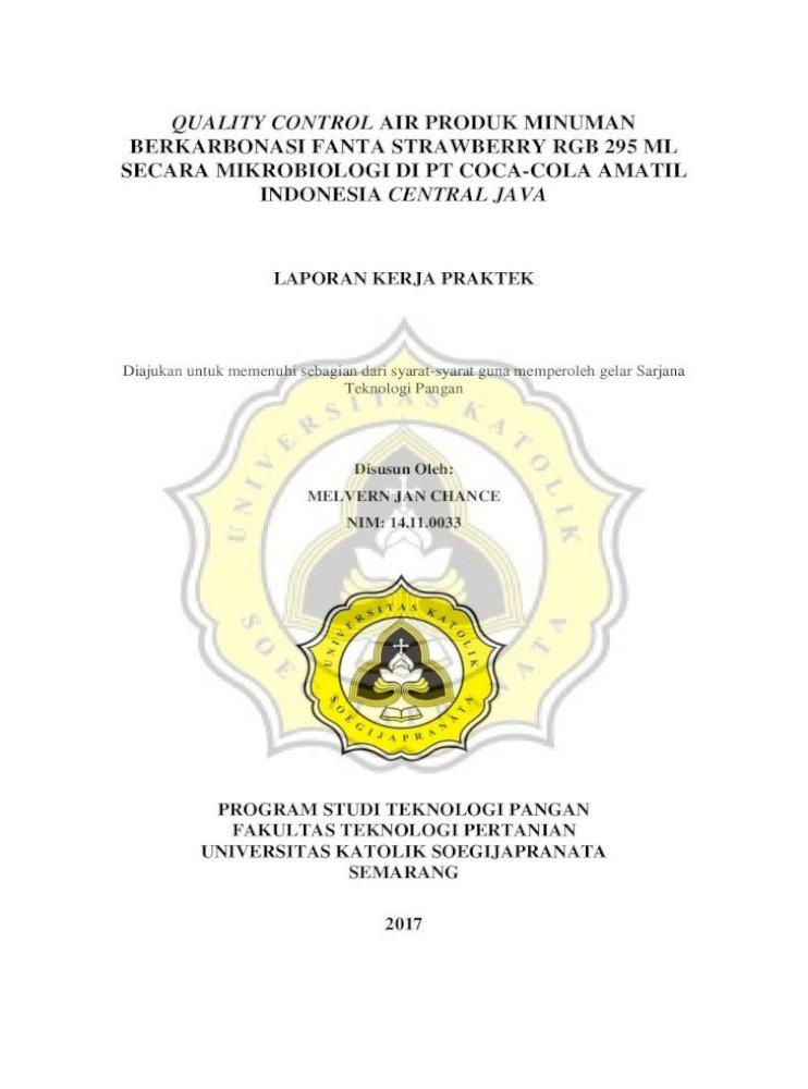 Quality Control Air Produk Minuman Melvern Jan Laporan Kerja Praktek 5 Bapak Agus Pdf Document