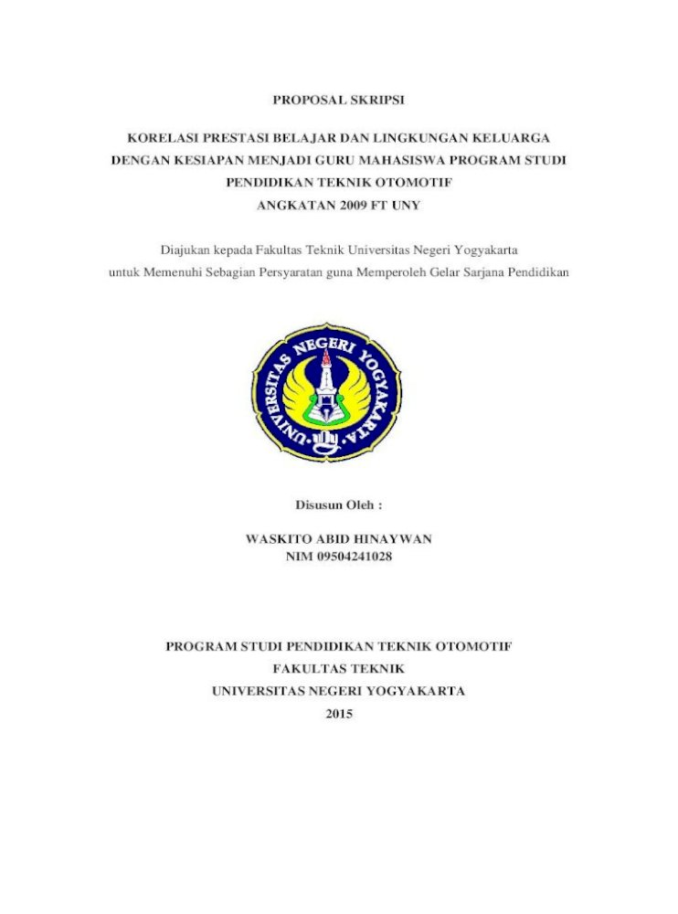 Proposal Skripsi Korelasi Prestasi Belajar Dan Sehari Hari Pendidikan Dalam Hal Ini Dipandang Sebagai Pdf Document
