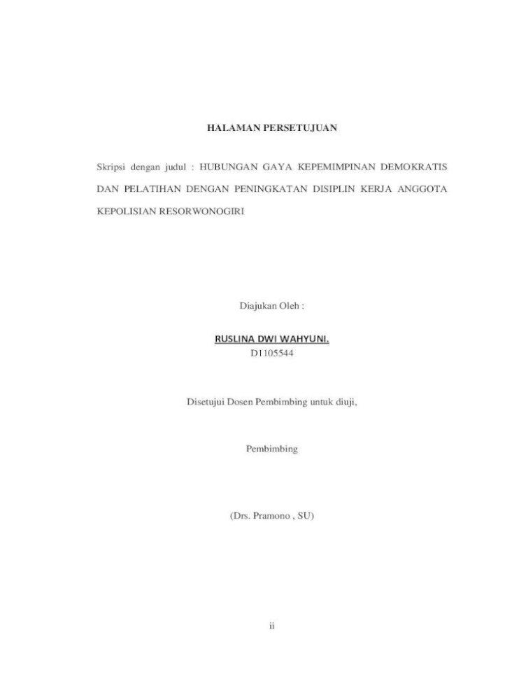 Ruslina Dwi Wahyuni D 1105544 Hubungan I Hubungan Gaya Kepemimpinan Demokratis Kapolres Dan Pdf Document