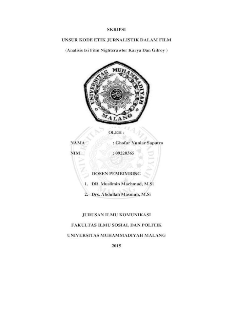 Skripsi Unsur Kode Etik Jurnalistik Dalam Film 1 5 2 Kode Etik Jurnalistik Acc Proposal 7 Pdf Document