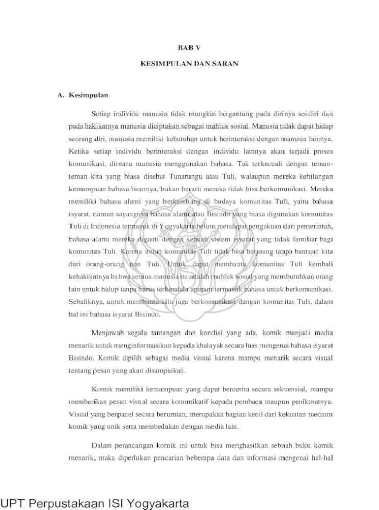 Bab V Kesimpulan Dan Saran A V Pen Pdf Sastrawinata Emon 1977 Pendidikan Anak Anak Tunarungu Pdf Document