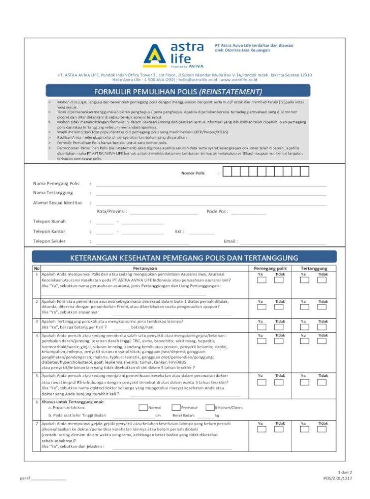Formulir Pemulihan Polis Formulir Permohonan Pt Astra Aviva Life Terdaftar Dan Diawasi Oleh Otoritas Pdf Document