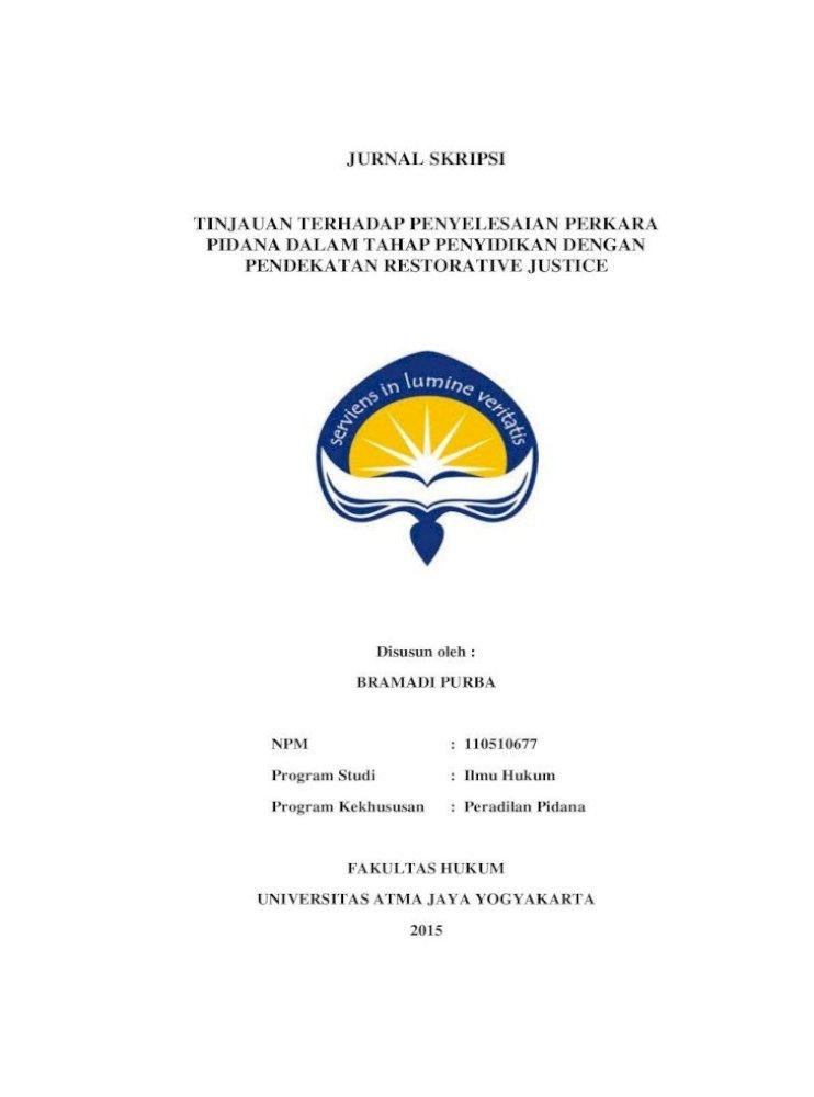 Jurnal Skripsi Tinjauan Terhadap Penyelesaian Salah Satu Contoh Kurang Diperhatikannya Masalah Pdf Document