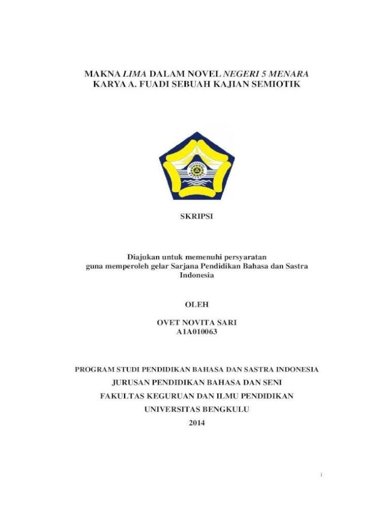 Makna Lima Dalam Novel Negeri 5 Menara Karya A Ii Iii Ii 14 Ove Fk Pdf Menganalisis Judul Novel Pdf Document