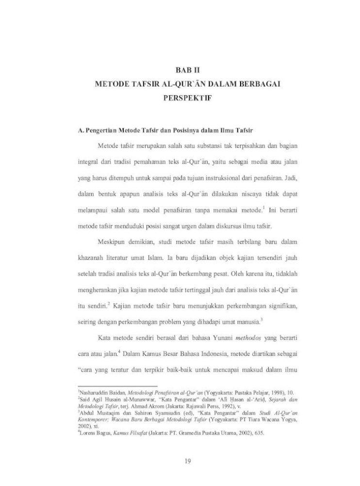 Bab Ii Metode Tafsir Al Qur An Dalam Berbagai 2 Pdf Metode Tafsir Al Qur An Dalam Berbagai Perspektif Pdf Document
