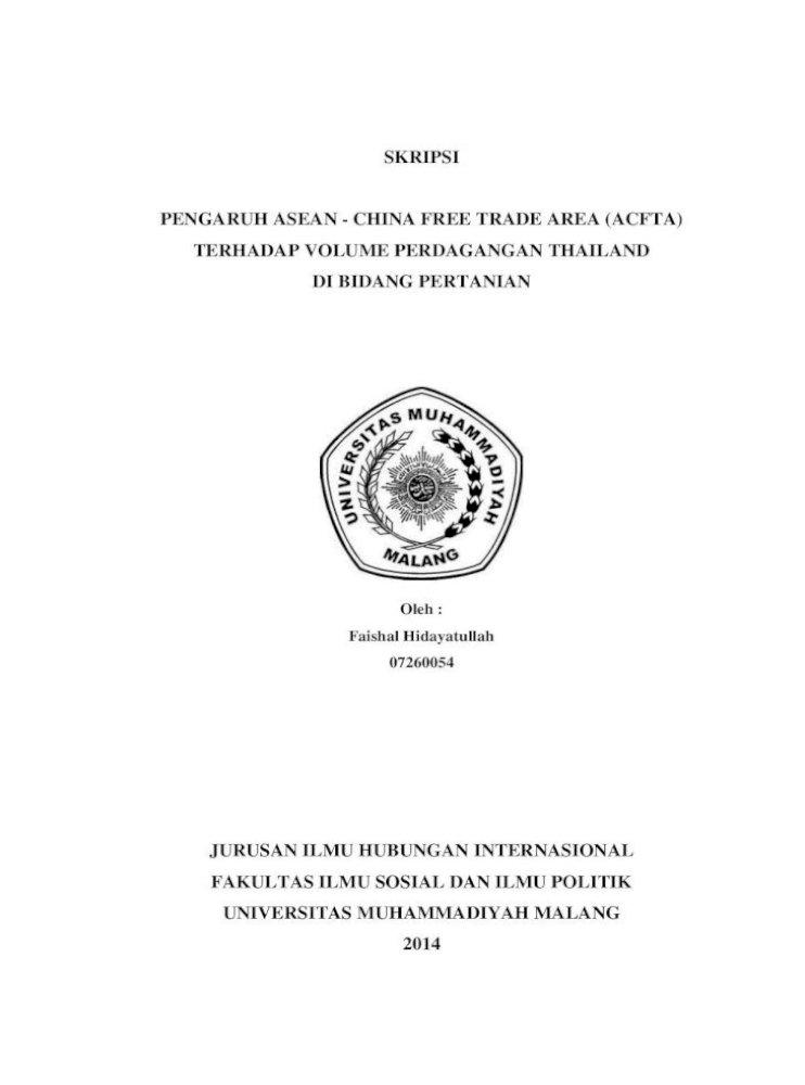 Skripsi Pengaruh Asean China Free Trade Area Jurusan Ilmu Hubungan Internasional Ekonomi Internasional Pdf Document