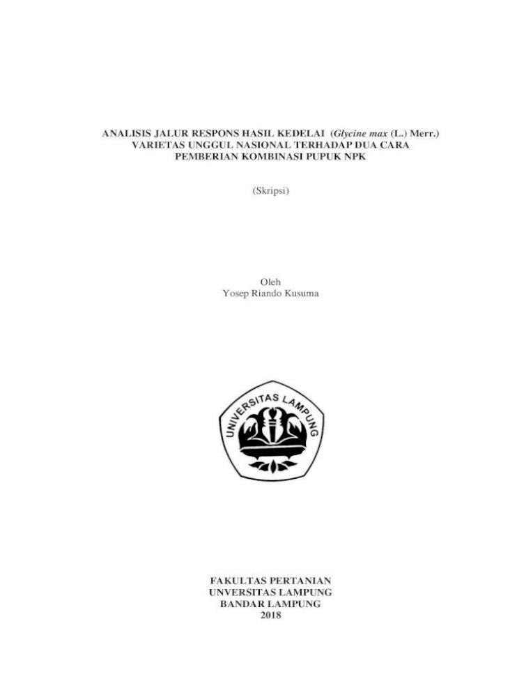 Analisis Jalur Respons Hasil Kedelai Glycine Max L Tanpa Bab Analisis Jalur Pdf Document