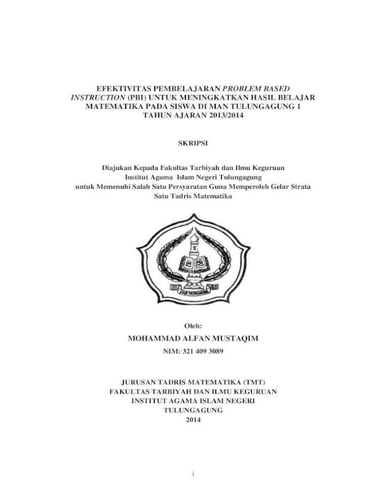 Efektivitas Pembelajaran Problem Based Skripsi Dengan Judul Efektivitas Pembelajaran Problem Pdf Document