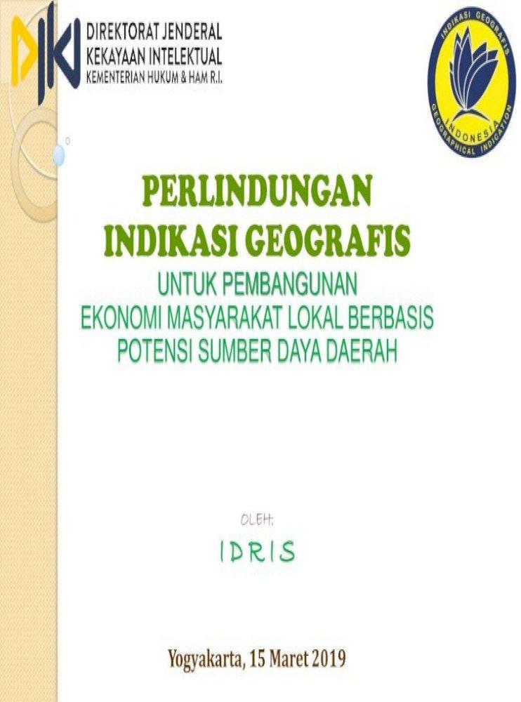 Perlindungan Indikasi Geografis Dalam Bahasa Indonesia Dengan Mengisi Formulir 2 Surat Kuasa Khusus Pdf Document