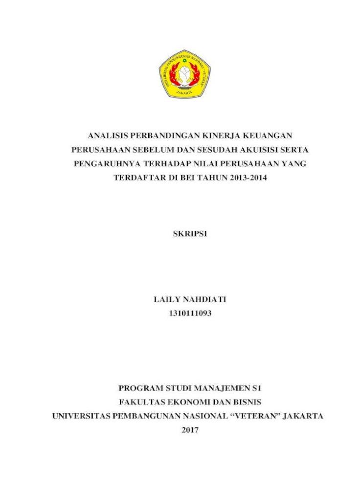 Analisis Perbandingan Kinerja Keuangan Perusahaan Sebelum Analisis Perbandingan Kinerja Keuangan Perusahaan Pdf Document