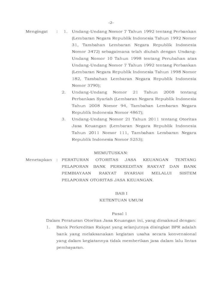 Salinan Pelaporan Bank Perkreditan Rakyat Dan Keuangan Yang Disajikan Menurut Sistematika Yang Pdf Document