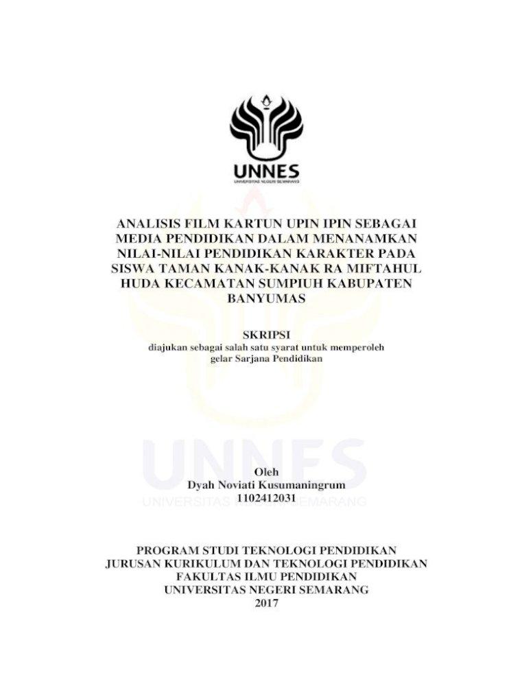 Analisis Film Kartun Upin Ipin Sebagai Media Lib Unnes Ac Id 31050 1 Film Kartun Upin Ipin Sebagai Pdf Document