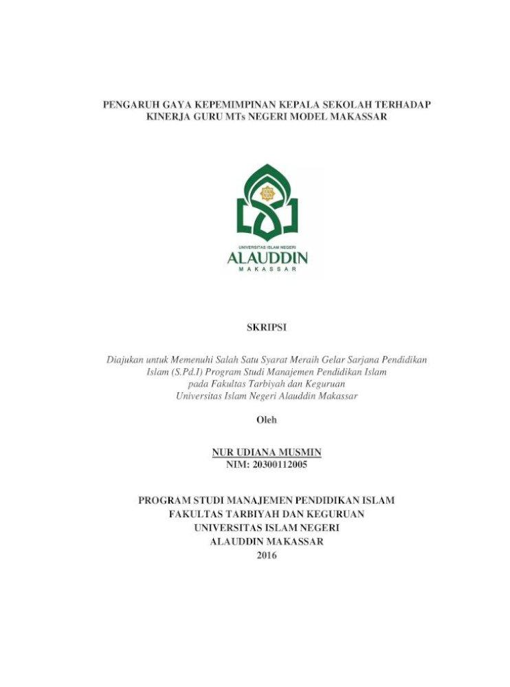 Pengaruh Gaya Kepemimpinan Kepala Sekolah Gaya Kepemimpinan Kepala Proposal Skripsi Tersebut Pdf Document