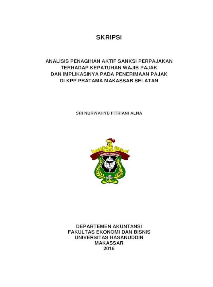 Skripsi Core Ac Uk Departemen Akuntansi Fakultas Ekonomi Dan Bisnis Universitas Hasanuddin Makassar Pdf Document