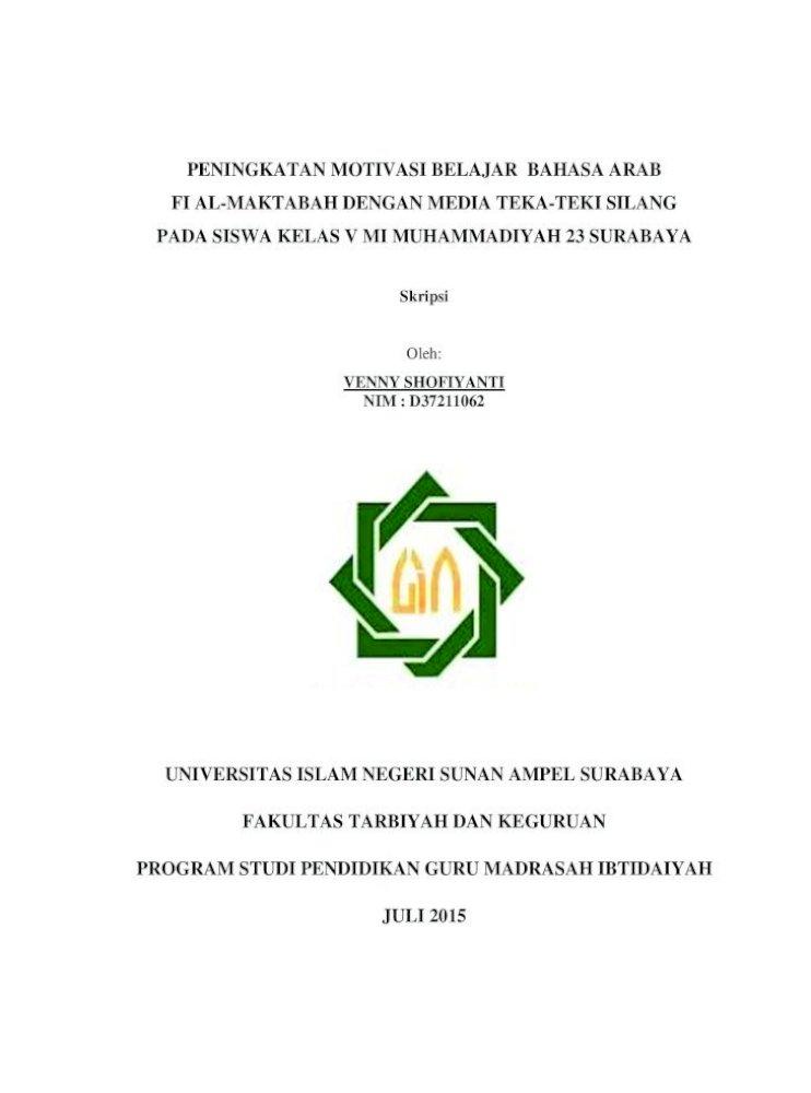 Peningkatan Motivasi Belajar Bahasa Arab Fi Al Ii Peningkatan Motivasi Belajar Bahasa Arab Dengan Media Pdf Document