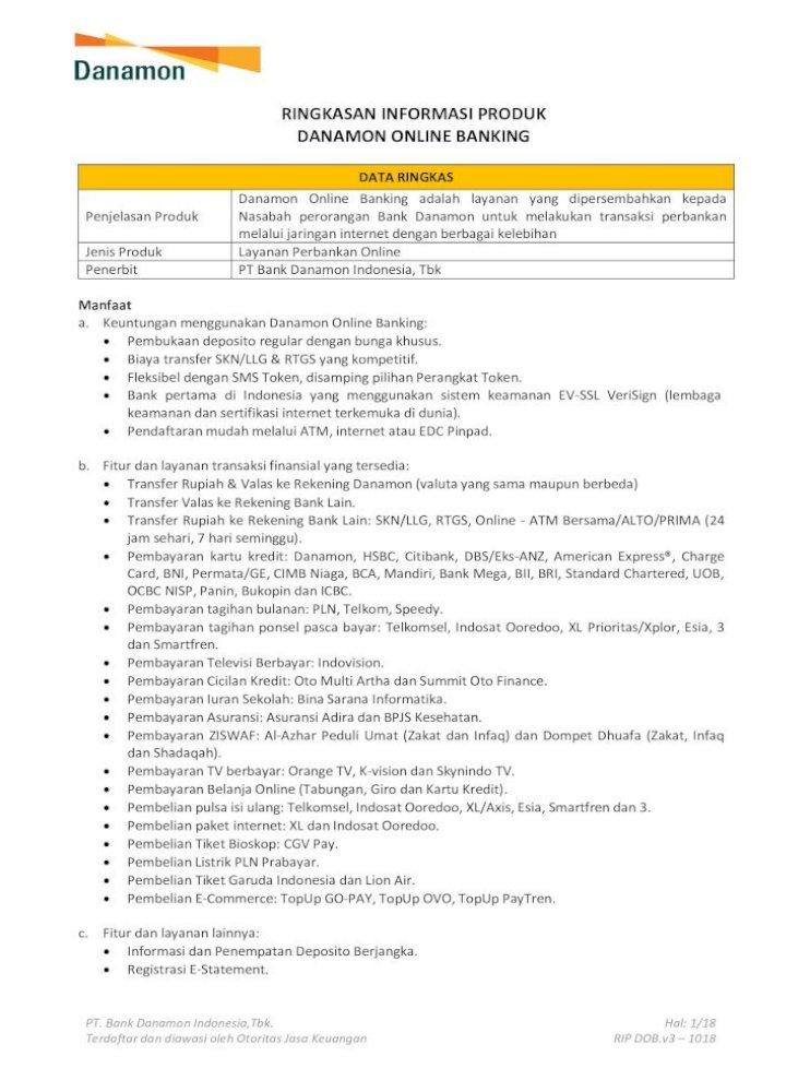 Ringkasan Informasi Produk Danamon Online Banking Pt Bank Danamon Indonesia Tbk Terdaftar Dan Diawasi Pdf Document