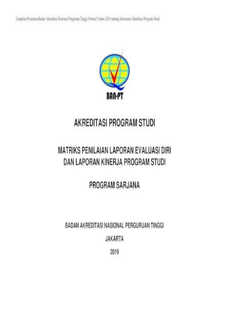 Akreditasi Program Studi Matriks Penilaian Laporan Evaluasi Diri Dan Laporan Kinerja Program Studi Pdf Document