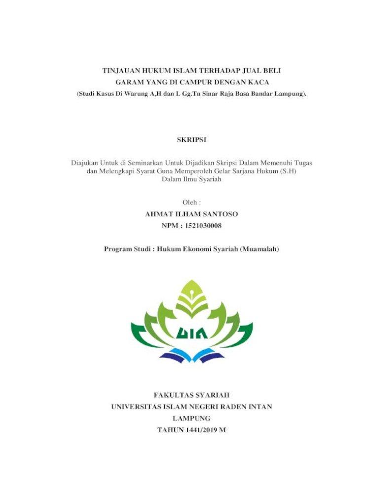 Tinjauan Hukum Islam Terhadap Jual Beli Garam Tinjauan Hukum Islam Terhadap Jual Beli Garam Yang Di Pdf Document
