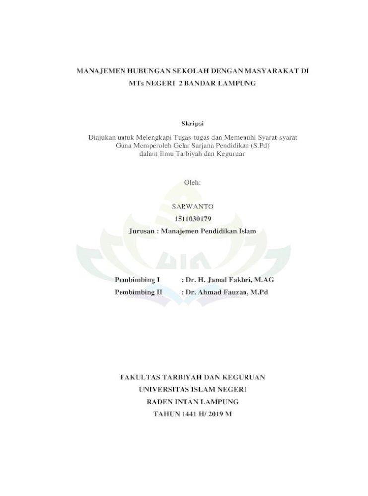 Manajemen Hubungan Sekolah Dengan Masyarakat Di Kesuksesan Lembaga Pendidikan Harus Ditopang Bersama Pdf Document