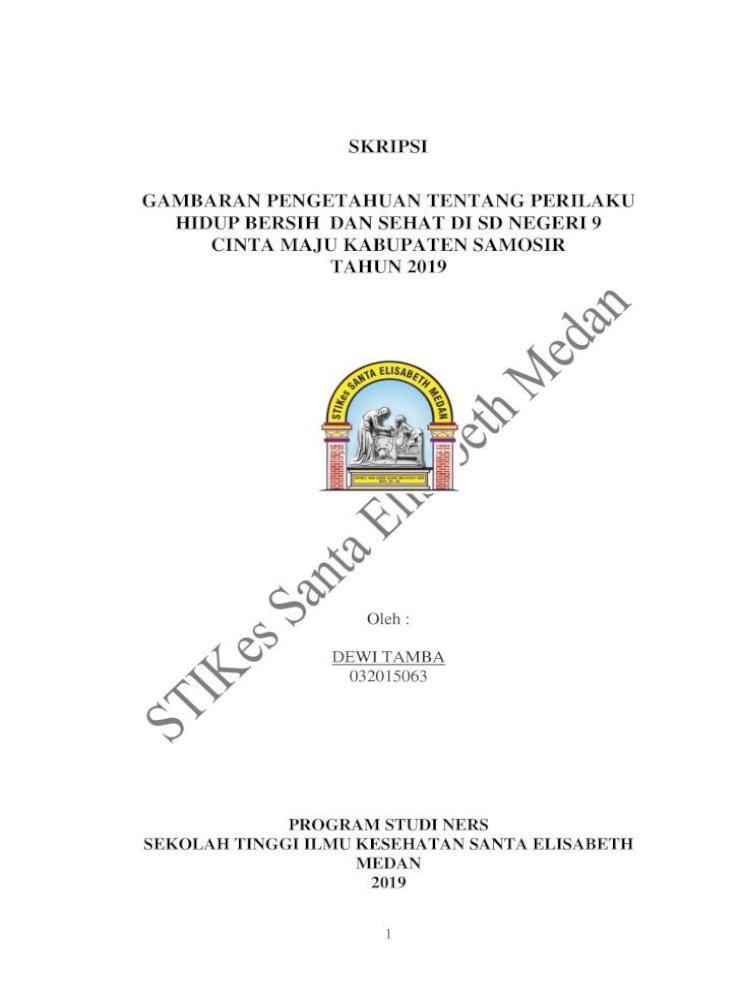 Skripsi Gambaran Pengetahuan Tentang 2 Skripsi Gambaran Pengetahuan Tentang Perilaku Hidup Bersih Pdf Document