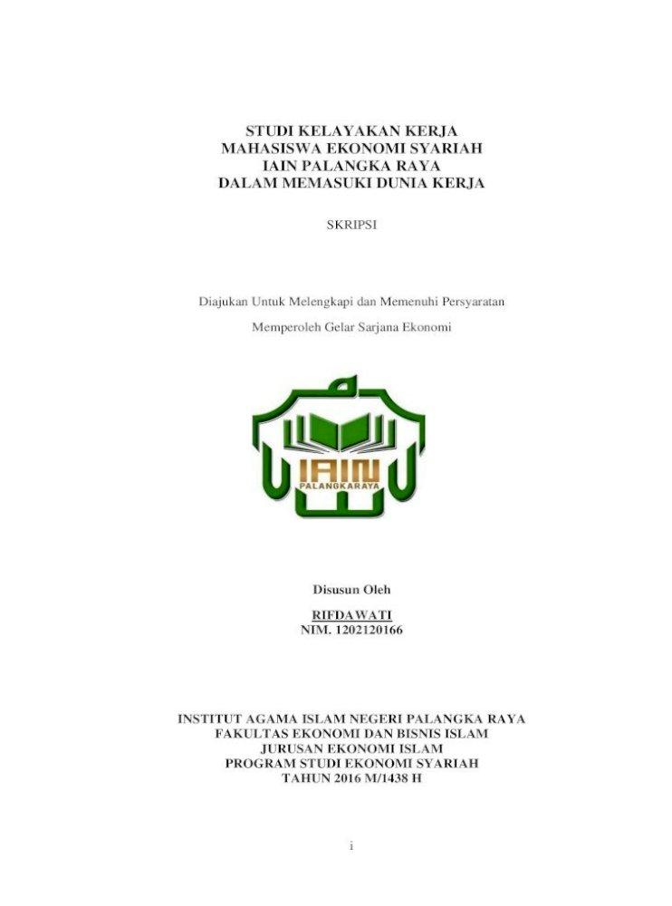 Studi Kelayakan Kerja Mahasiswa Ekonomi Syariah آ 2017 04 10آ Pertanyaan Apakah Dengan Pdf Document