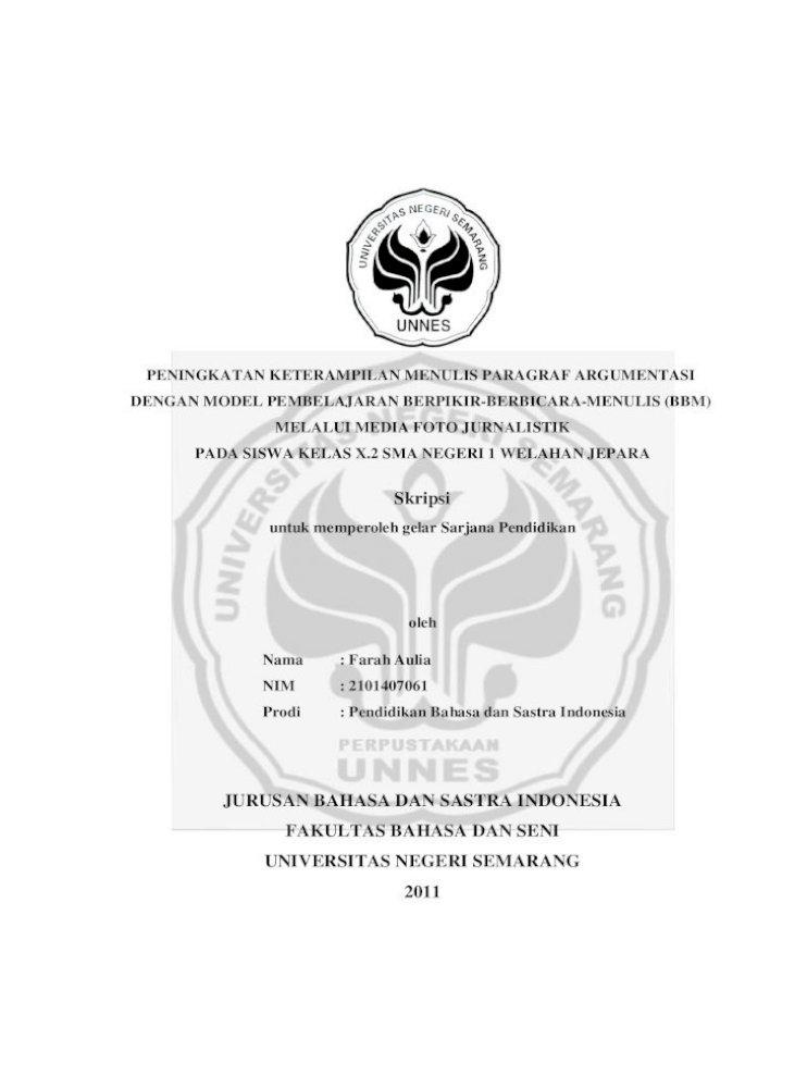 Jurusan Bahasa Dan Sastra Indonesia Lib Unnes Ac Id 5980 1 7591 Pdf Keterampilan Menulis Paragraf Argumentasi Pada Siklus I Sebesar 68 5 Dalam Kategori Cukup Media Foto Jurnalistik Pdf Document