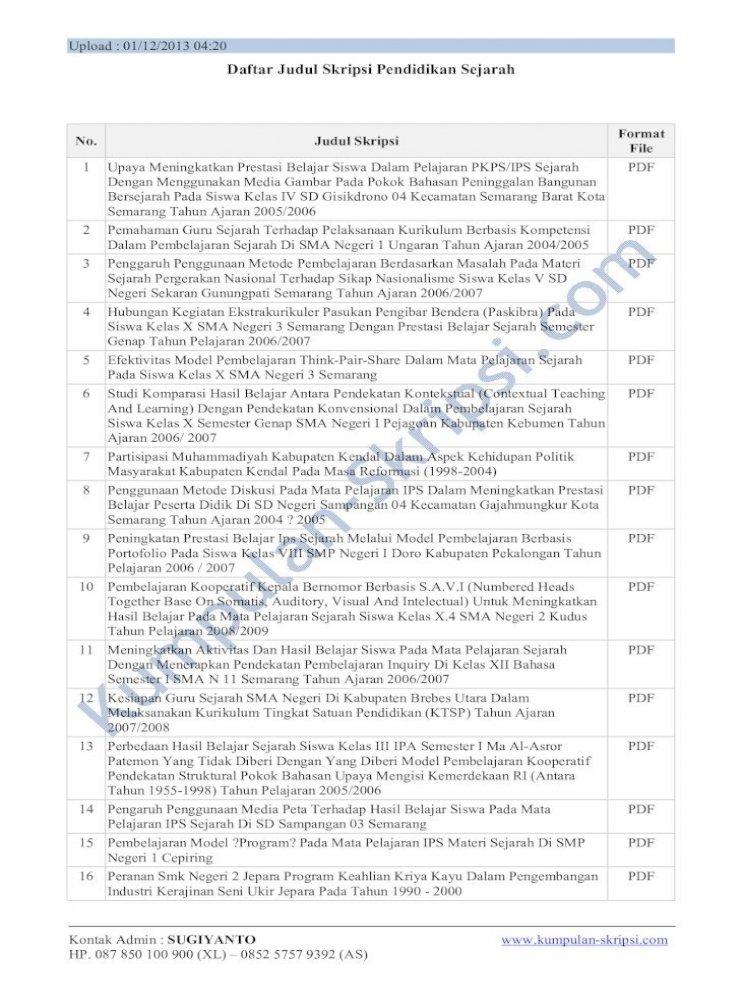 Daftar Judul Skripsi Pendidikan Sejarah A Daftar Judul Skripsi Pendidikan Sejarah No Judul Skripsi Format File 1 Upaya Meningkatkan Prestasi Belajar Siswa Dalam Pelajaran Pkps Ips Pdf Document