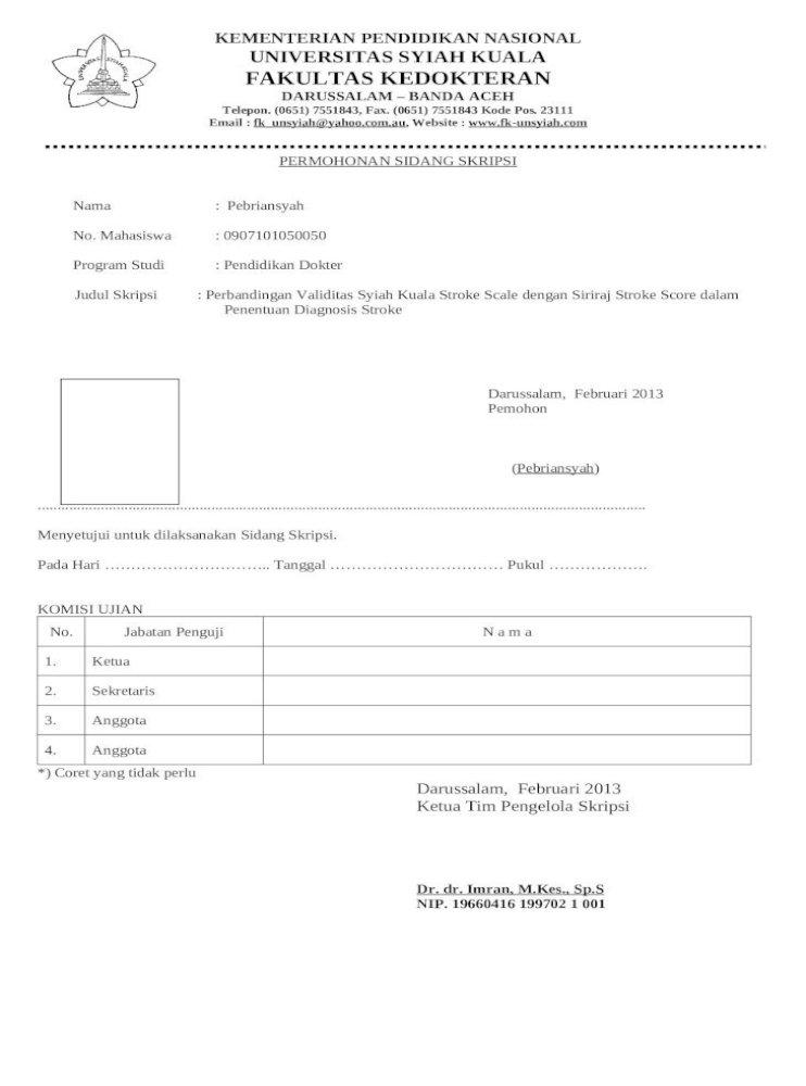 Berkas Sidang Skripsi Pspd Fk Unsyiah Doc Doc Document