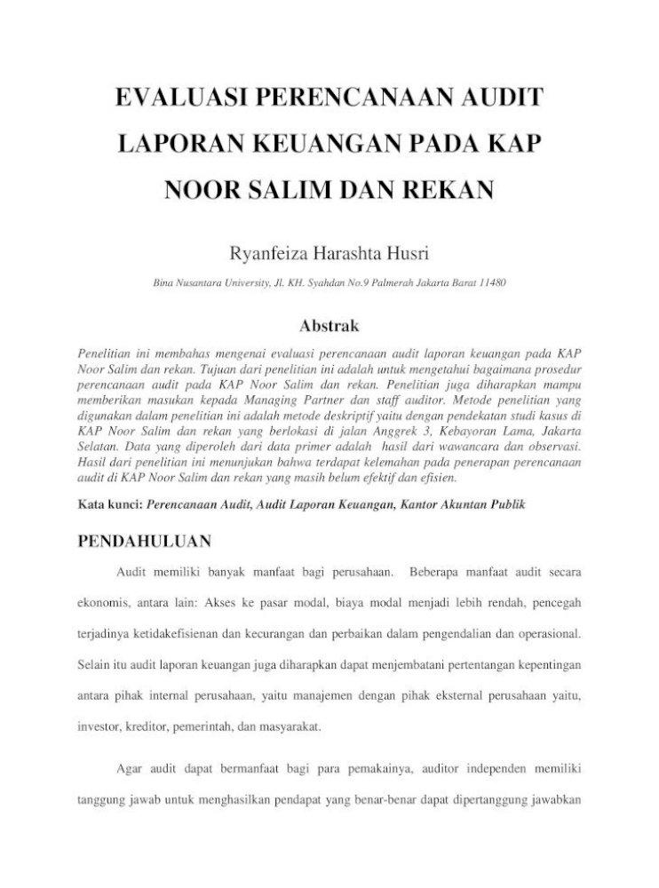 Evaluasi Perencanaan Audit Laporan Evaluasi Perencanaan Audit Laporan Keuangan Pdf Document