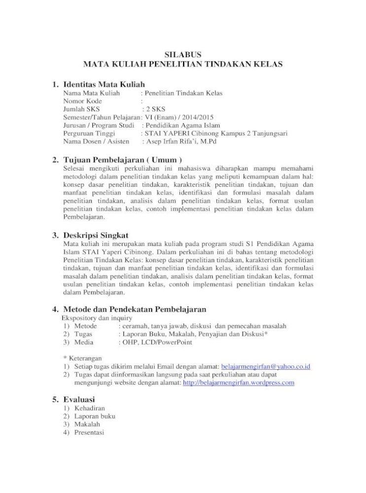 Silabus Mata Kuliah Penelitian Tindakan Kelas Kuliah Ini Merupakan Mata Kuliah Pada Program Studi S1 Pendidikan Agama Tugas Laporan Buku Makalah Metode Penelitian Tindakan Pdf Document