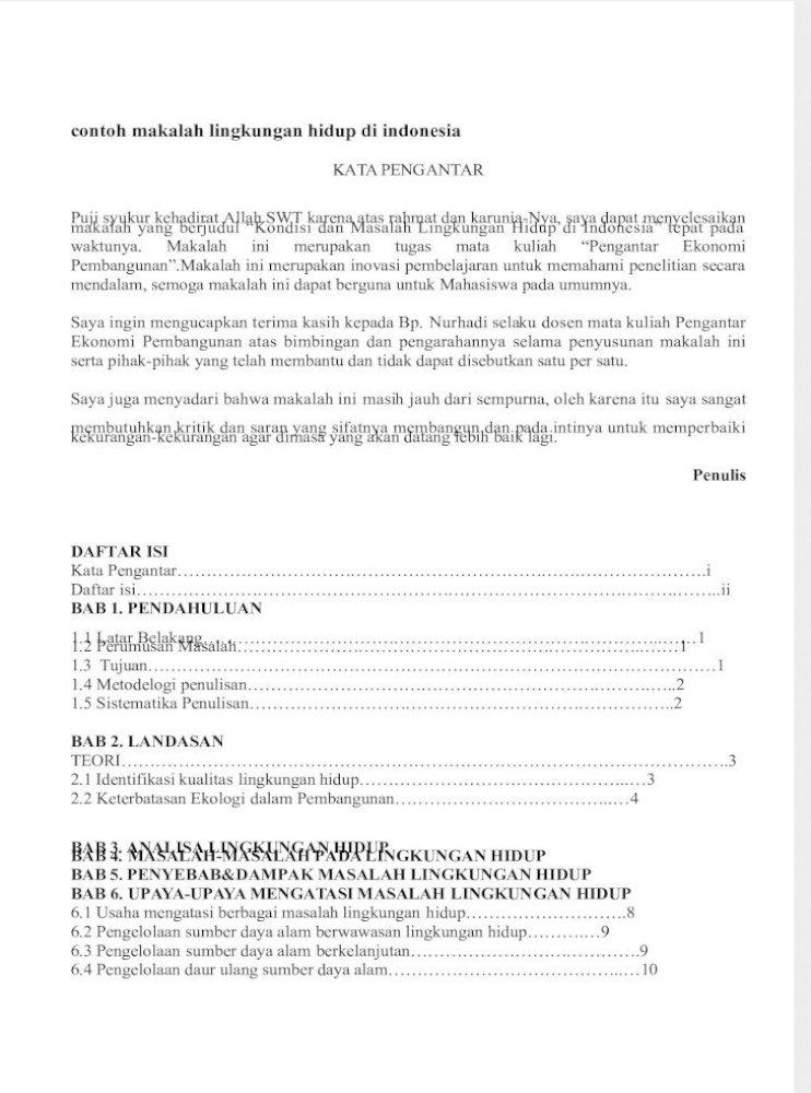 Contoh Makalah Lingkungan Hidup Di Indonesia Docx Pdf Document